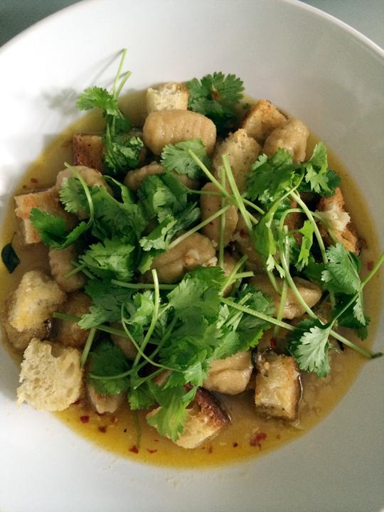 Sweet Potato Gnocchi in Garlic Broth